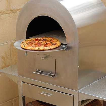 Pizza in a Nectre wood fire Pizza Oven
